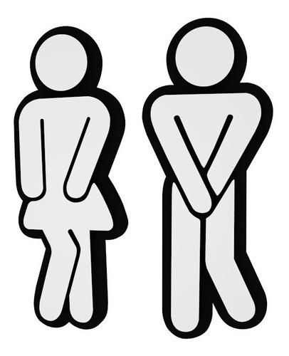 Placa Preta Banheiro Silhueta Feminino Masculino Buffet Bar