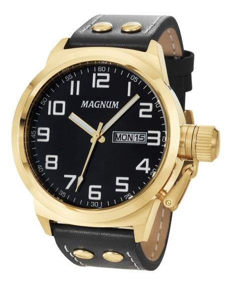 Relógio Magnum Ma32756u Calendario Pulseira Couro