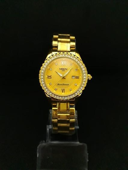Relogio Feminino Dourado Nibosi - Luxo - 012