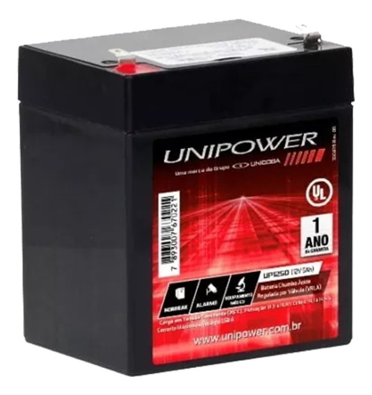 Bateria 12v/5ah - Unipower - Caixa De Som/nobreak/equipamentos Hospitalares