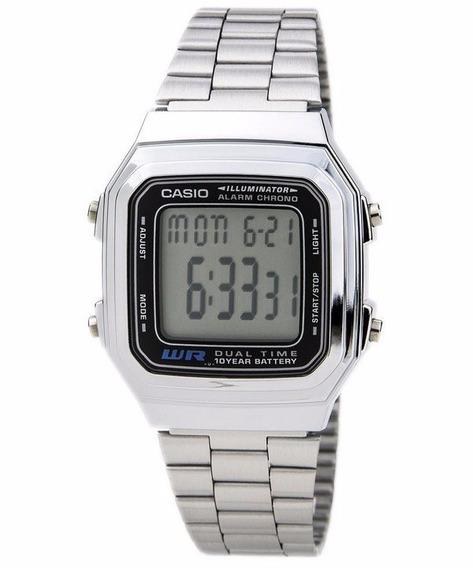 Relógio Casio Unissex Vintage A178wa 1adf Prata Digital