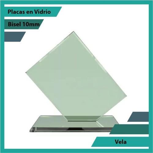 Placas Conmemorativas En Vidrio Vela Plano