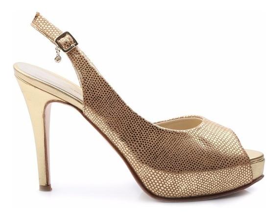 Sandalias Mujer Cuero Metalizado Plataforma Moho - Ferraro -