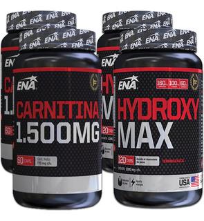 Combo Quemador De Grasa 4 Potes Hydroxy Max + Carnitina Ena