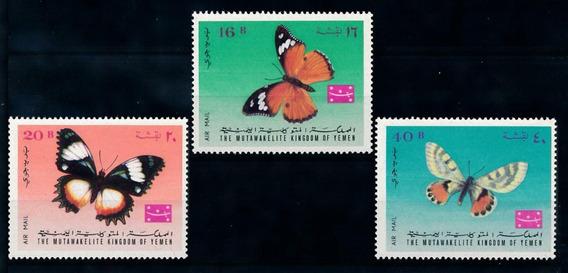 Estampillas Yemen 1968 Mariposas Serie Completa Mint