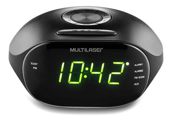 Radio Relógio Multilaser 2 Alarmes Entrada P2 Led Verde