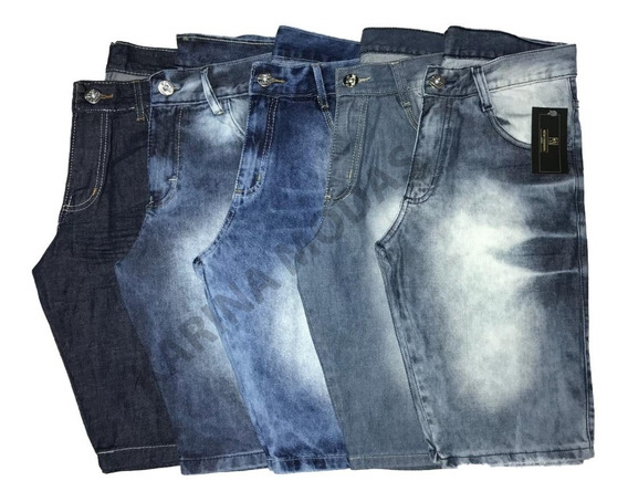 Kit 5 Bermudas Jeans Masculina 34 A 52 C/ Nota Fiscal