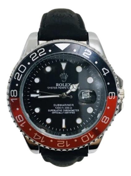 Relógio Submariner Aço Couro Luxo Top Pesado Grande Barato