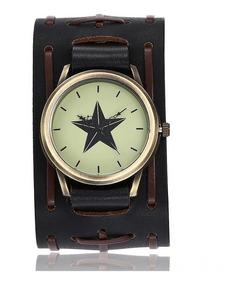 Relógio Bracelete Estrela Em Couro Masculino Feminino Barato
