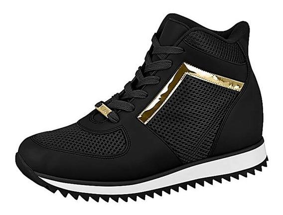 Sneaker Vizzano Preto Ouro Tratorado Frete Livre 010089