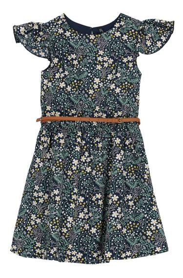Vestido Estampado Flores Y Cinturón De Niñas C&a 1047915