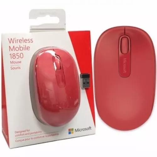 Mouse Wireless Mobile 1850 Microsoft Sem Fio Original Vermel