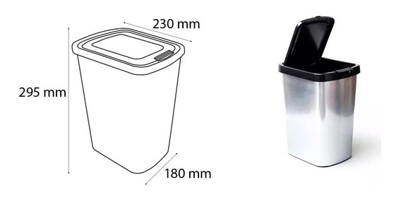 Lixeira Cesto 9 Litros Pia Cozinha Banheiro (tipo Alumínio)