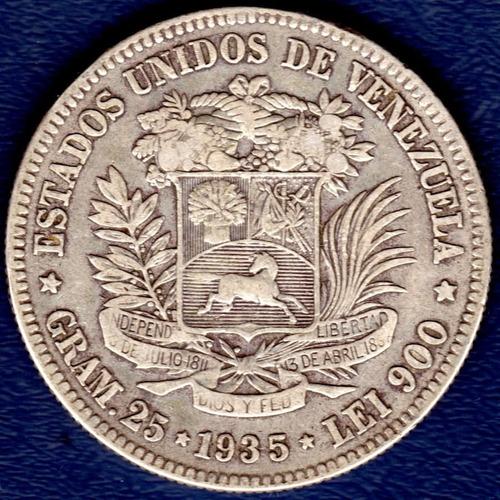 Moneda De 5 Bolívares De 1935 Fuerte De Plata