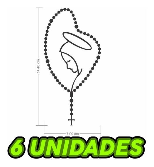 Kit 6x Adesivos Terço Rosário Nossa Senhora Santinha Carro