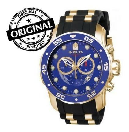 Relógio Invicta Pro Diver 6983 Banhado A Ouro Fundo Azul