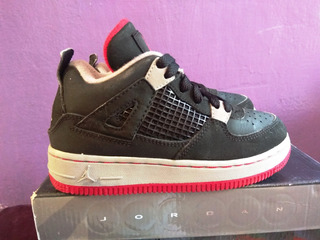 Air Jordan 4 Retro 4 Negro/gris/rojo 17.5 Cm