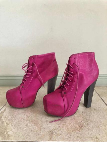 Zapatos Abotinados Con Plataforma Y Taco Acordonados Fucsias