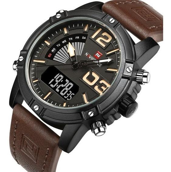 Relógio Masculino Naviforce Nf9095m Luminoso Led Calendário