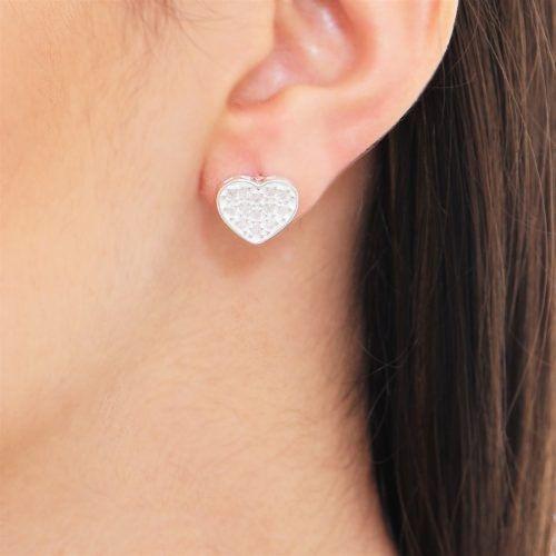 Brinco Feminino Coração Com 13 Zircônias Todo Em Prata 925