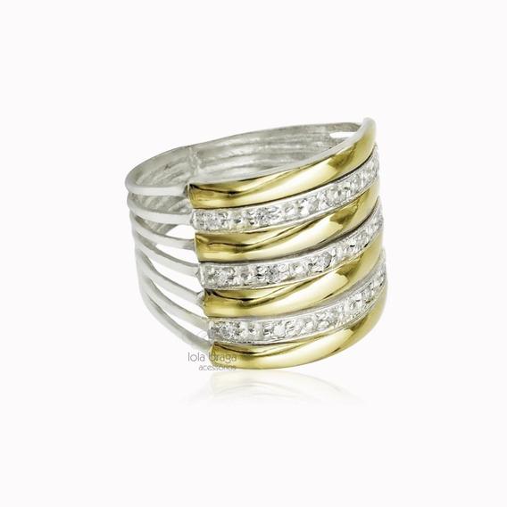 Anel 7 Elos Em Prata E Ouro 12k Zircônia Promoção