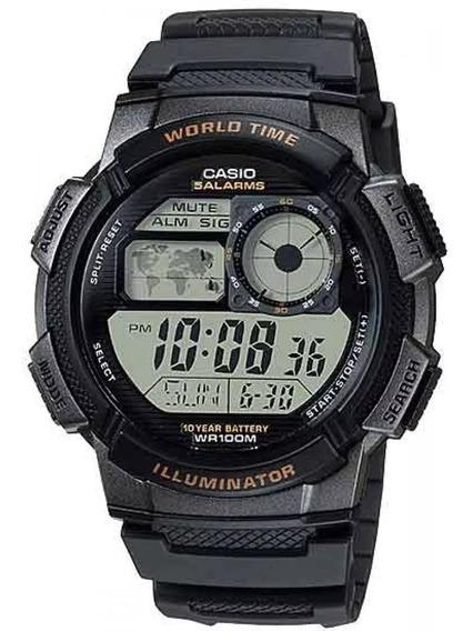 Relógio Casio Masculino Digital Ae-1000w- Mapa Mundi
