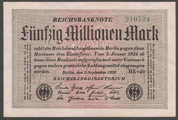 Alemania 1923 Billete 50 Millones Marcos Nuevo