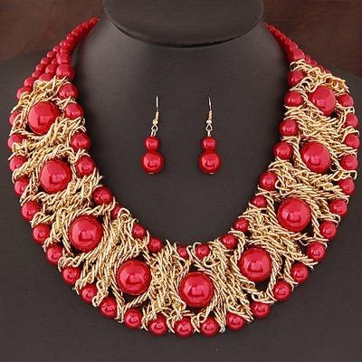 Hermoso Collar Grande Perlas 4 Colores Envio Gratis