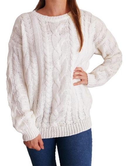 Sweater Importado Mujer Pullover Lana Trenzado Abrigado L Xl
