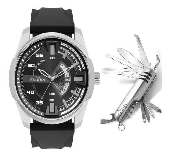 Relógio Masculino Silicone Condor + Canivete Co2115kwx/k2p