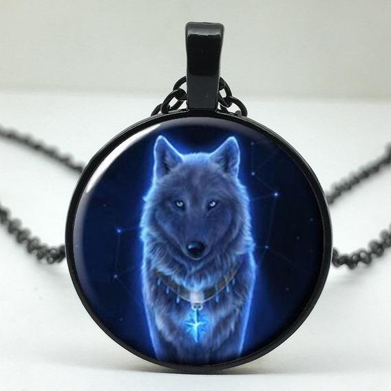 Colar Com Pingente Cabochão Lobo Negro Black Wolf