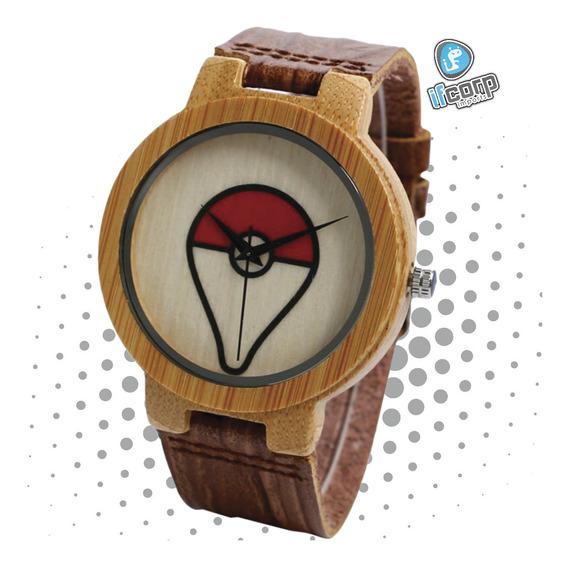 Reloj Pokebola Pikachu Pokemon Bamboo Madera Watch Hombre