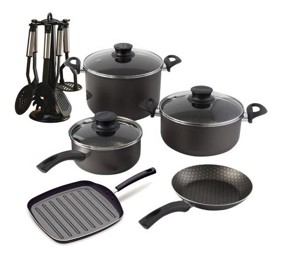 Batería De Cocina Antiadherente Tramontina + Bifera + Set Utensillos De Nylon