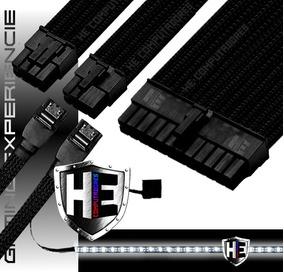 Kit Cabo Sleeve Extensor Gamer 24p 2x8p 2x Sata Fita Led Pro