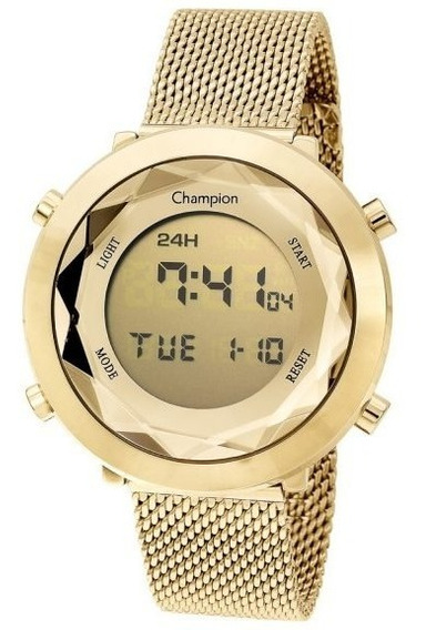 Relógio Champion Unissex Digital Ch48028g Dourado Redondo