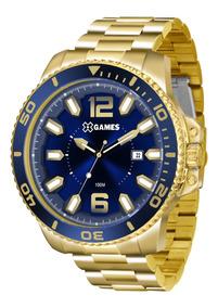 Relógio X-games Masculino Xmgs1019 D2kx Azul Dourado Grande