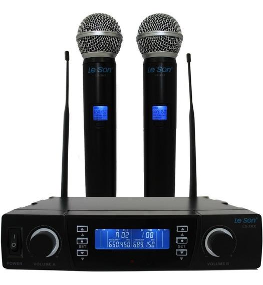 Microfone Sem Fio Digital Uhf Leson Duplo Mão Lsx-02 Pll