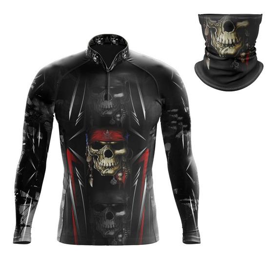 Camisa Ciclista Caveira New M/ L Ref 01 + Bandana Pqs Ref 41