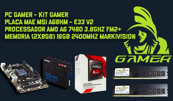 Kit Gamer Msi A68hm-e33 V2 + Amd A6 7480 Mem. Ddr4 16gb Mark