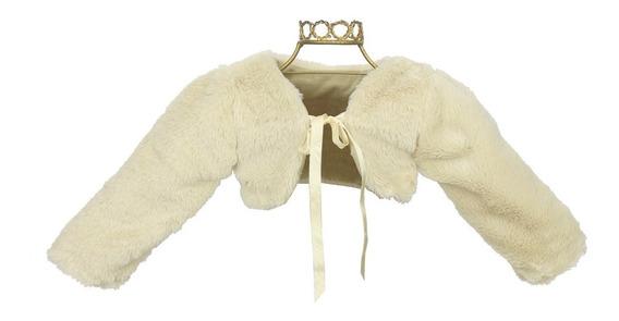 Bolero Infantil De Pelo Camurça Cáqui Para Usar Com Vestido