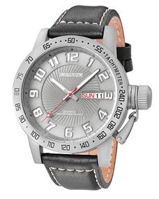Relógio Magnum Masculino Ma33139w Cinza Couro Analogico