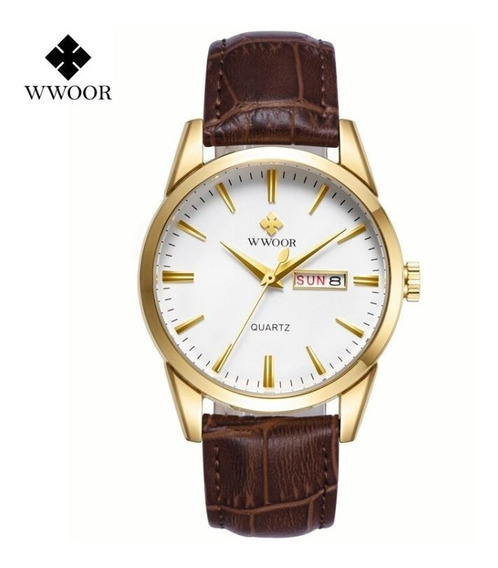 Relógio Masculino Couro Wwoor Original