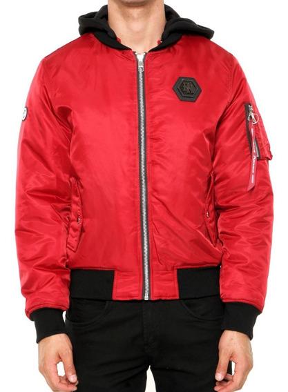 Jaqueta Vermelha Homen Com Capuz Hype