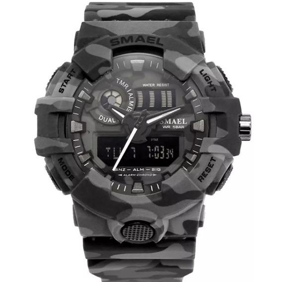 Relógio Masculino Esportivo Militar Shock Novo Cinza