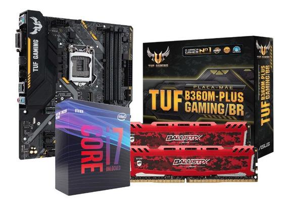 Kit Processador Intel I7 9700k Tuf B360m Bls 2x8gb 2666mhz