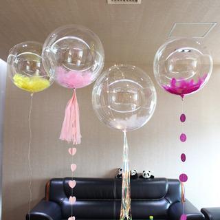 Globo Cristal Transparente Burbuja 55 Cm (sin Led Ni Plumas)