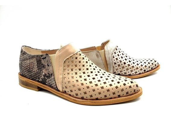 Chata Punta Elastico Calado Moda Mujer Zapato Cuero Soriahr