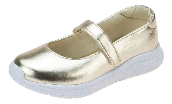 Tênis Sapatilha Infantil Feminino Dourado Social Moda Menina Casual Escolar Confortável Calce Fácil