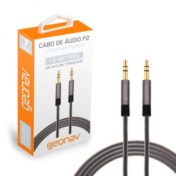 Cabo De Audio P2 3.55 Estéreo Nylon Reforçado 1,5 M Geonav