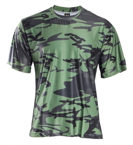 Camisa Camuflada Selva Manga Curta Proteção Uv 50+